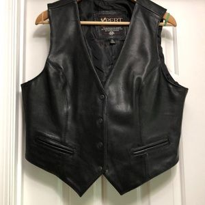 XPERT Leather Motorcycle Vest Size XL